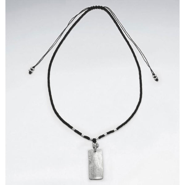 Rectangle Macrame Silver Necklace