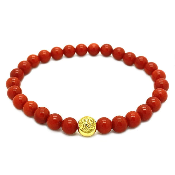 Red Jades Beaded Bracelet and Gold Roano Collection S (15-16 CM)