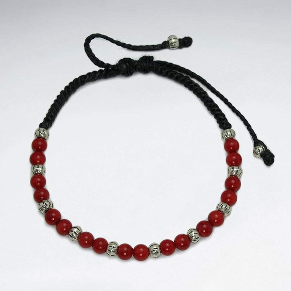 Mini Red Coral Bracelet - Sterling Silver men Bracelet Roano Collection