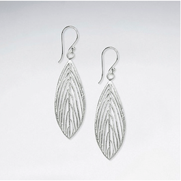 Feather Silver earrings dangle