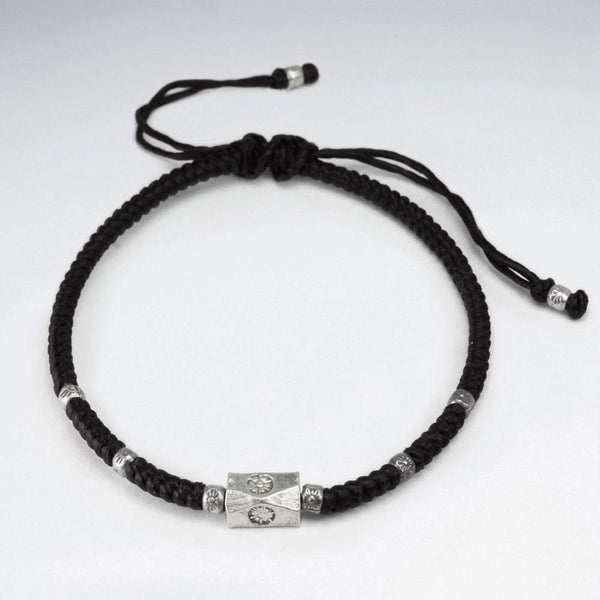 Block Bead Waxed Macrame Silver Bracelet women bracelet men bracelet macrame bracelet Roano Collection