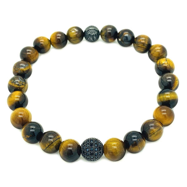 CLASSIC DIAMOND BALL BEADED BRACELET beaded Bracelets Roano Collection S tiger-eye