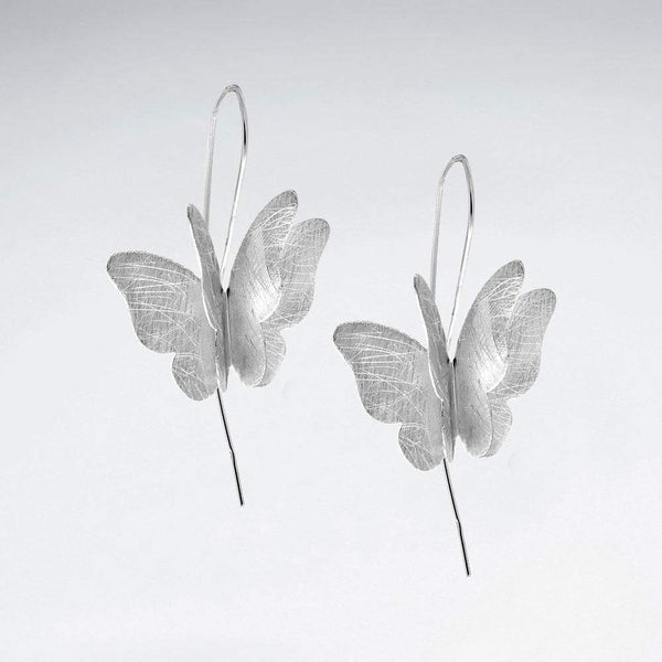 Elegant Butterfly Earrings - Women Sterling Silver Earrings  - Roano Collection