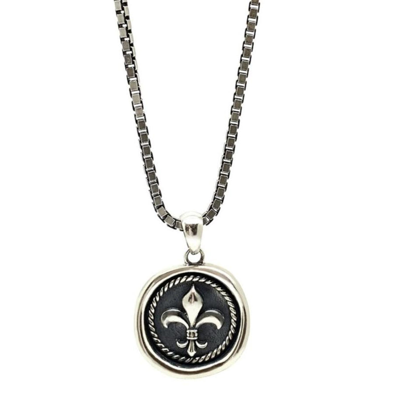 Fleur De Lis Silver Men Necklace Roano Collection