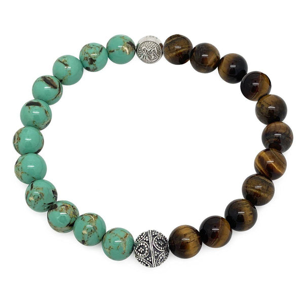 Men's Wristband bali turquoise & Tiger Eye Roano Collection