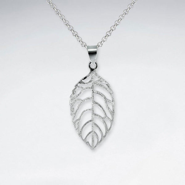 Matte Leaf Pendant - Sterling Silver - Roano Collection