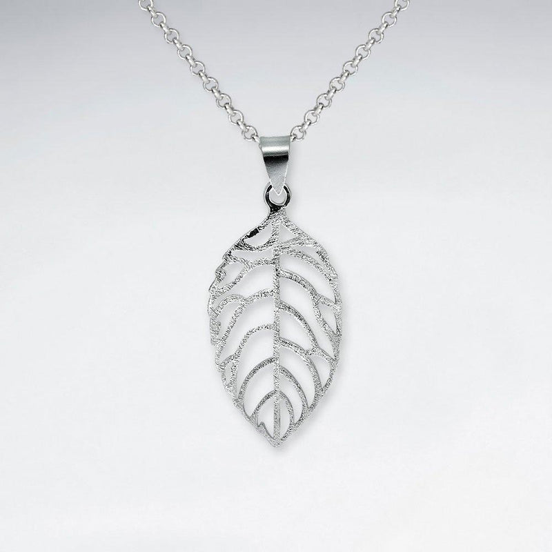 Matte Leaf Pendant - Sterling Silver Sterling Silver Pendant Roano Collection