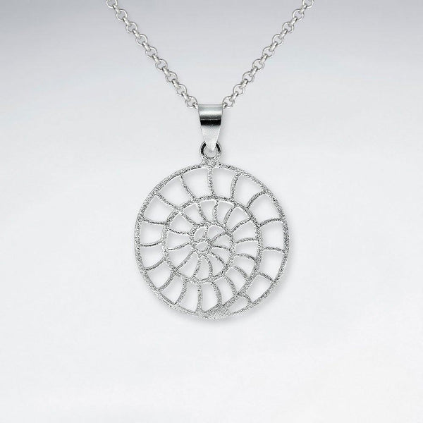 Matte Fossil Shell Circle Pendant - Sterling Silver - Roano Collection
