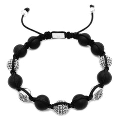 Matte Onyx Beaded Bracelet & Sterling Silver Beads beaded Bracelet Roano Collection