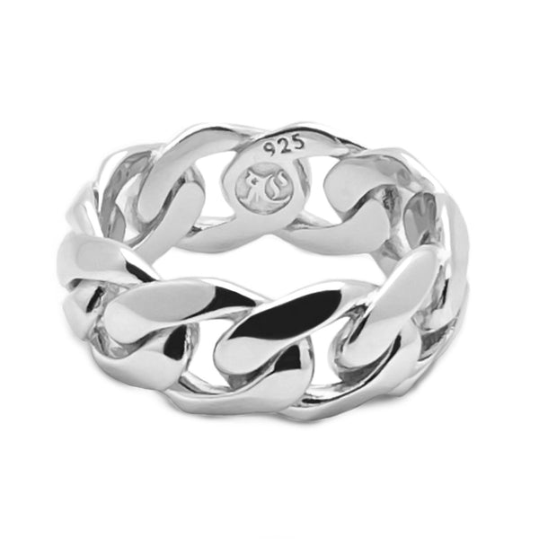 Men's Silver Chain Ring Sterling Silver Rings Roano Collection 9