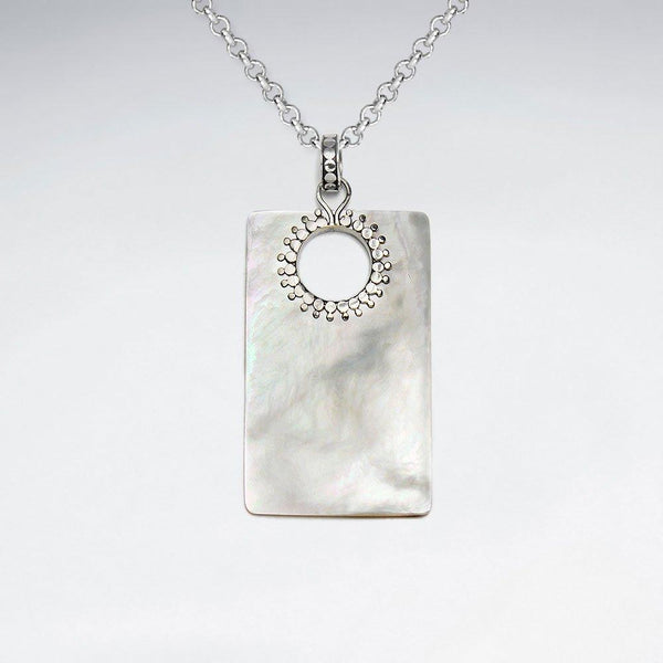Rectangle Mother Of Pearl Pendant - Sterling Silver Sterling Silver Pendant Roano Collection