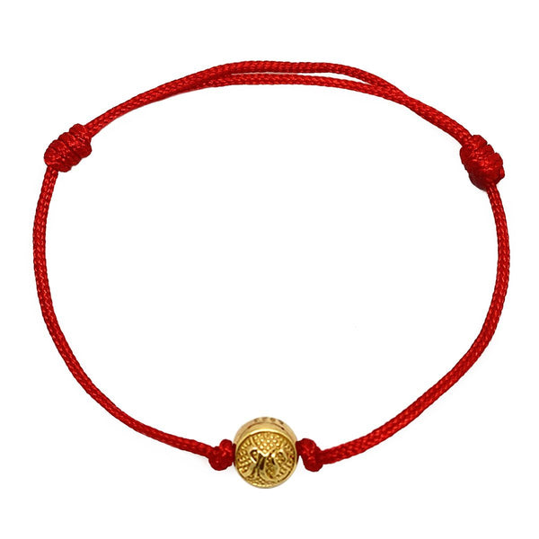 Red Cord Bracelet with Gold