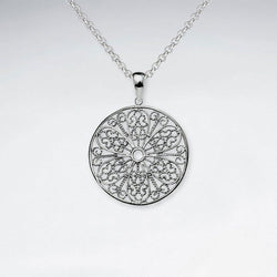 Round Cut Pattern Pendant - Sterling Silver - Roano Collection