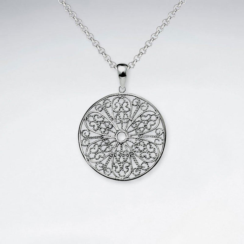 Round Cut Pattern Pendant - Sterling Silver Sterling Silver Pendant Roano Collection