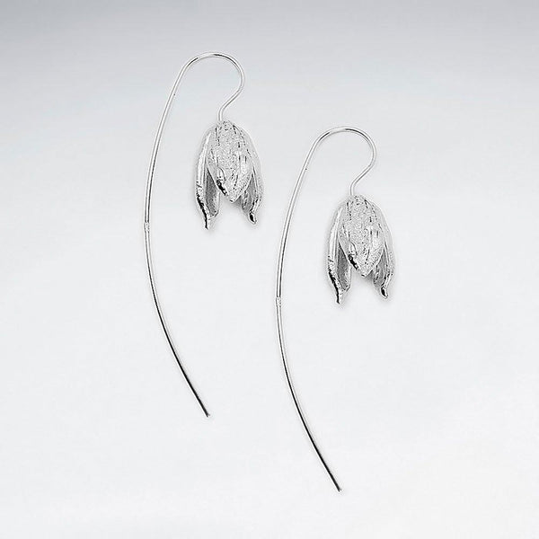 Petite Drooping Bloom Dangle Hook Earrings - Sterling Silver - Roano Collection