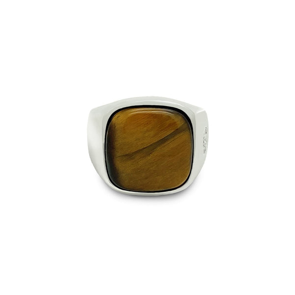Classic Stone Signet Ring Tiger Eye Sterling Silver Rings Roano Collection