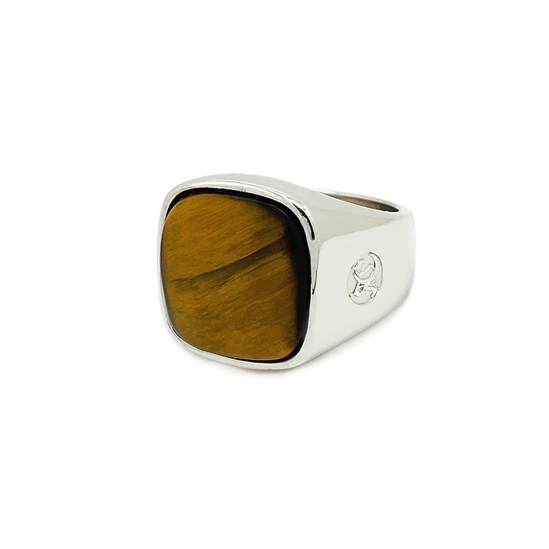 Classic Stone Signet Ring Tiger Eye Sterling Silver Rings Roano Collection 10