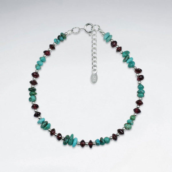Women's Mini Beaded Bracelet Turquoise, Garnet & Silver Roano Collection