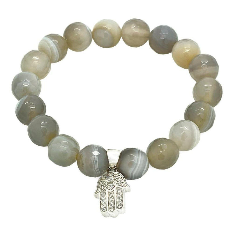 Women Grey Agate Hamsa Bracelet beaded Bracelet Roano Collection XS (13-14 CM)