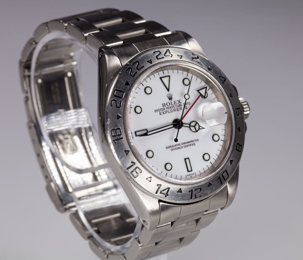 Rolex Men's Stainless Steel Explorer II OPD Automatic Watch White Dial 16570
