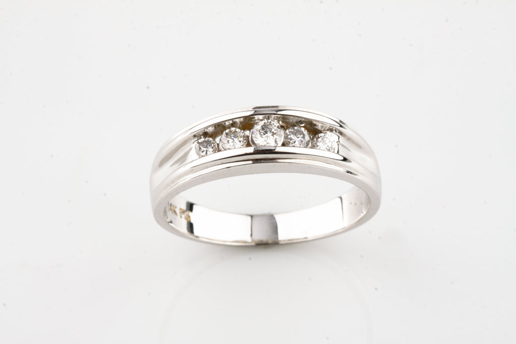 14k White Gold Gorgeous Unique 0.30 Ct Channel Set Diamond Band Ring Sz 9.25