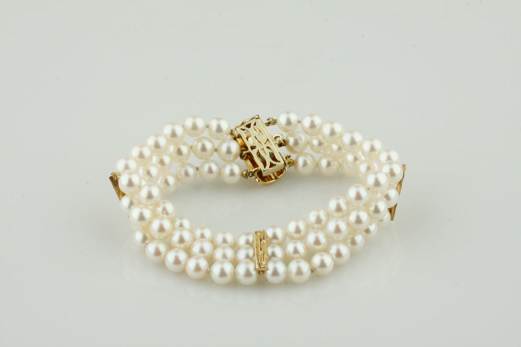 "14k Yellow Gold Three-Strand Pearl Bracelet w/ Gold Accents 7"" Long"