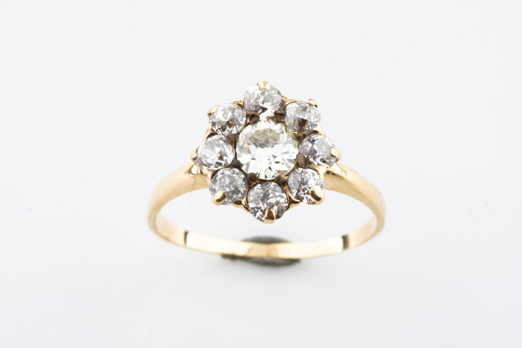 Gorgeous Antique 18k Yellow Gold 1.20 ct Old Miner's Cut Diamond Cluster Ring