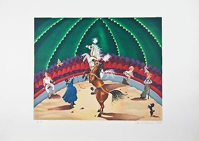 """Au Cirque"" By La Giraudiere Lithograph On Paper 25.5' x 18.75"""