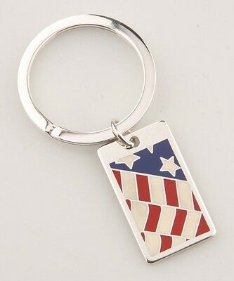"Tiffany & Co. Sterling American Flag Key Ring w/ ""The West Wing"" Engraving Rare!"