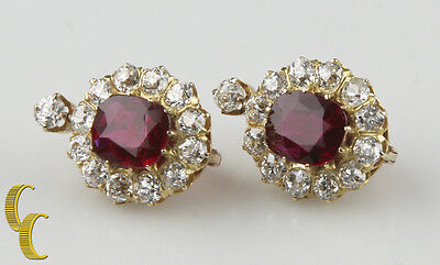 4.12 carat Unaltered Natural Ruby 18k Yellow Gold Lever-back & Diamond Earrings