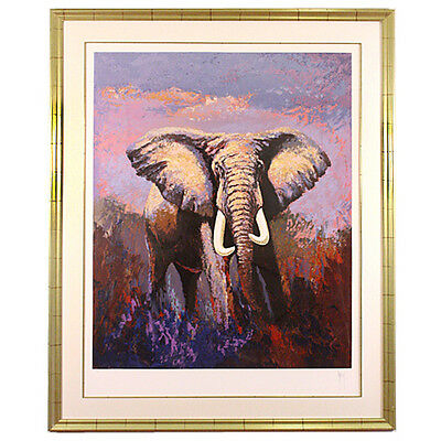 """Lone Tusker"" by Mark King Serigraph on Paper Artist's Proof 10/75 w/ CoA Great!"
