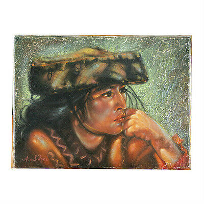 """Andian Indian Woman"" By Anthony Sidoni Signed Oil on Canvas 9""x12"""