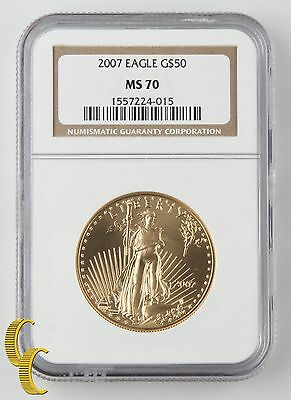 2007 American Eagle Gold Bullion 1 oz. Graded by NGC as MS-70! United States