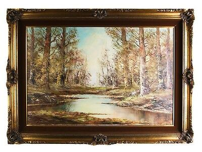 "Untitled Painting Spring Scene by Aldo Mantovani Oil on Canvas 32 x 44"" Repaired"