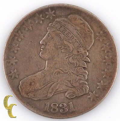 1831 US Capped Bust Half Dollar (Extra Fine, XF) Lettered Edge 1/2 50c EF KM-37