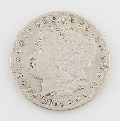 1895-S $1 Morgan Silver Dollar, Very Good Condition, Light Gray Color, Full Rims
