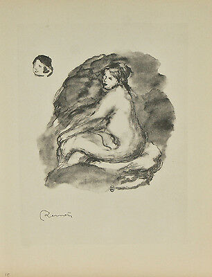 """Femme nue assise"" By Fernand Mourlot After Renoir Lithograph LE #29/3000"
