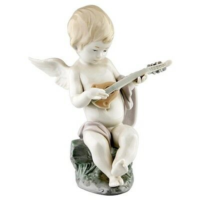 "Lladro #1231 ""Angel with Lute"" Angel Baby Playing Lute on Rock Retired!"