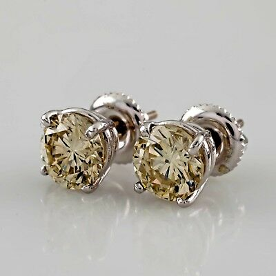 "Gorgeous 14k White Gold 2.03 carat ""Champagne"" Diamond Stud Screwback Earrings"