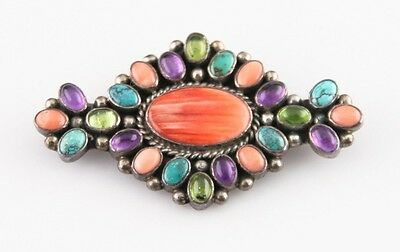 Gorgeous Sterling Silver Brooch w/ Various Bezel-Set Gemstones 19.4 g
