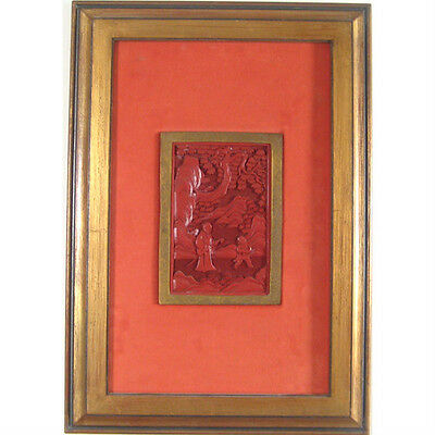 "Pair of (2) Framed Antique Asian Cinnabar Carvings 11 7/8""x17"" Each"