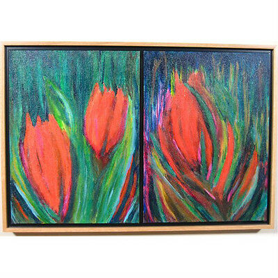 """New York Garden"" By Susan Soffer Cohn Diptych Framed Mixed Media Painting"