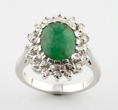 14K White Gold Oval Cabochon Jadeite & Diamond Halo Set Cocktail Ring Size 5.75