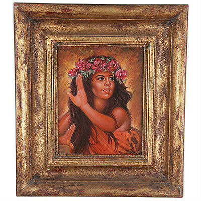 """Tahitian Dancer"" By Anthony Sidoni Signed Oil on Masonite 16 1/2""x14 1/2"""