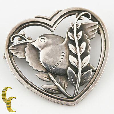 Vintage Georg Jensen Sterling Silver Dove and Olive Branch Pin #239 13.1 grams