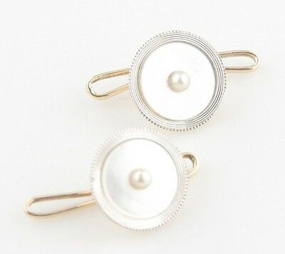Gorgeous 14k Yellow Gold & Platinum Mother of Pearl Cufflinks w/ Pearl Center