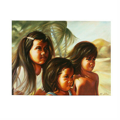 """Children of Hawaii"" By Anthony Sidoni Signed Oil Painting 18""x24"""