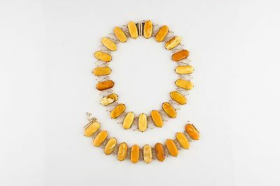 VINTAGE 14KT YELLOW GOLD BUTTERSCOTCH NATURAL AMBER SET NECKLACE & BRACELET