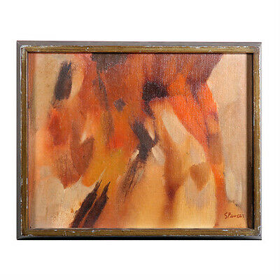 Untitled III (Abstract Browns) By Spencer Signed Oil Painting on Valbonite 11x14
