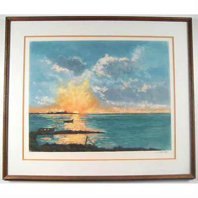 Untitled (Seascape at Sunset) By L.X. Maccard Signed Aquatint Etching LE #49/750